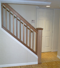 Finished Basement column wrap, crown molding, stairs in Paterson, New Jersey