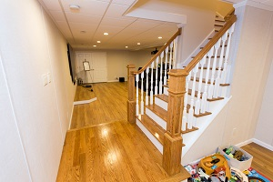Finishing touches for a remodeled basement in Jersey City