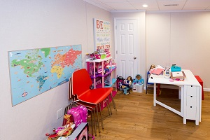 Children's playroom installed in a NYC, Brooklyn, Bronx, Astoria basement