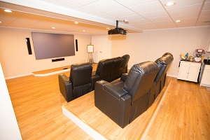 A basement turned into a home theater in Staten Island