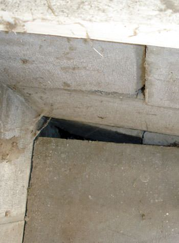 inward rotation of a foundation wall damaged by street creep in a garage in East Brunswick