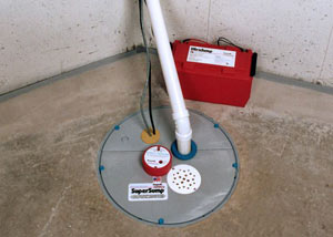 A sump pump system with a battery backup system installed in East Orange
