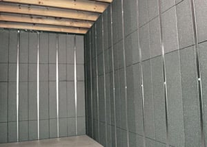SilverGlo™ insulation and metal studs making up our Basement to Beautiful panels.  Installed in Woodbridge.